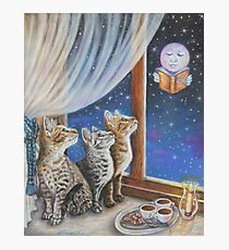 Whimsical Cat Painting -  Moon Tales Photographic Print