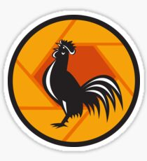 Rooster Crowing Shutter Circle Retro Sticker