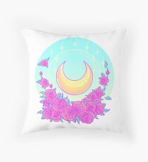Moon and Roses Throw Pillow
