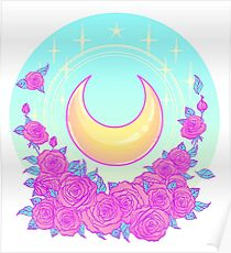 Moon and Roses Poster