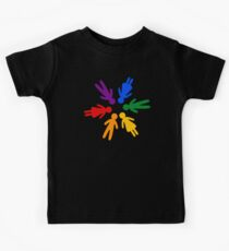 Rainbow People Circle (black background) Kids Tee