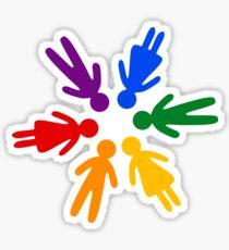 Rainbow People Circle (black background) Sticker