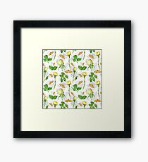 white and yellow roses flowers Framed Print