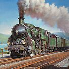 Vintage loco by the lake. by Mike Jeffries