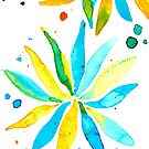 Turquoise and Yellow Flower Splash by lucydesigns
