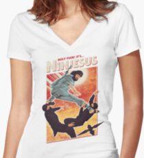 Ninjesus Women's Fitted V-Neck T-Shirt