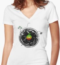 Reggae Music - Vinyl Records Cannabis Leaf - DJ inspired design Women's Fitted V-Neck T-Shirt