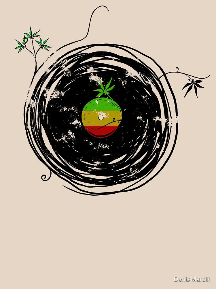 Reggae Music - Vinyl Records Cannabis Leaf - DJ inspired design by ddtk