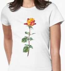 red rose on a long stalk Womens Fitted T-Shirt