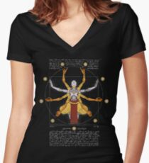 Vitruvian Omnic - color version Women's Fitted V-Neck T-Shirt