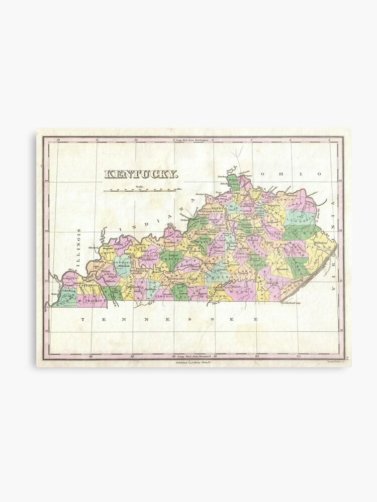 photo regarding Printable Map of Kentucky known as Basic Map of Kentucky (1827) Steel Print