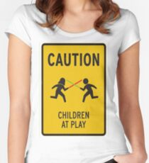 Caution, children at play Women's Fitted Scoop T-Shirt