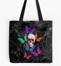 Bolsa de tela Calavera de azúcar y mariposas de colores