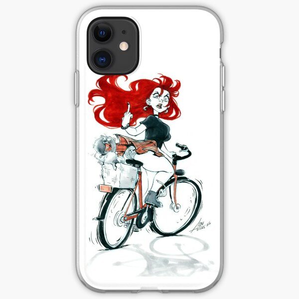 Badass girl on a bike iPhone Flexible Hülle
