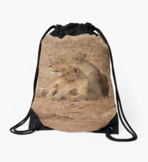 Lioness and Lion Cub Snuggle Together Drawstring Bag