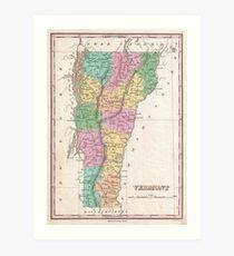 Vintage Map of Vermont (1827) Kunstdruck