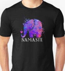 Namaste Elephant Peaceful Watercolor T-Shirt