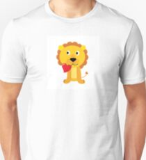 Cute little lion with red heart isolated on white Unisex T-Shirt