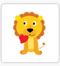 Cute little lion with red heart isolated on white Sticker