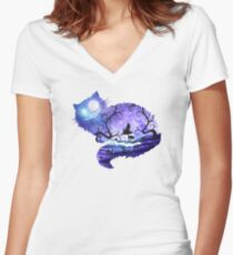 We are all mad here Women's Fitted V-Neck T-Shirt