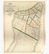 Póster Vintage Map of New York City (1831)