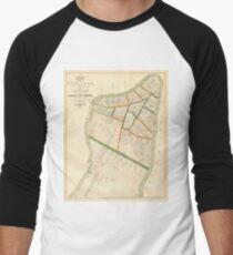 Camiseta ¾ bicolor para hombre Vintage Map of New York City (1831)
