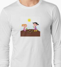 Two happy kids watering and planting plants in the garden Long Sleeve T-Shirt