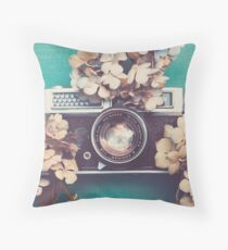 Camera & Hydrangea Throw Pillow