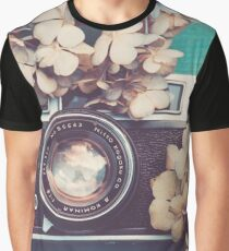 Camera & Hydrangea Graphic T-Shirt