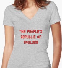 The People's Republic of Boulder (red letters) Women's Fitted V-Neck T-Shirt