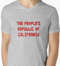 The People's Republic of California (red letters) Men's V-Neck T-Shirt