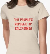 The People's Republic of California (red letters) Women's Fitted T-Shirt