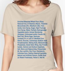 Twinkie ingredients (blue text on light color shirts) Women's Relaxed Fit T-Shirt