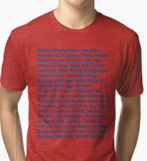 Twinkie ingredients (blue text on light color shirts) Tri-blend T-Shirt