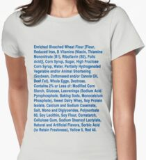 Twinkie ingredients (blue text on light color shirts) Women's Fitted T-Shirt