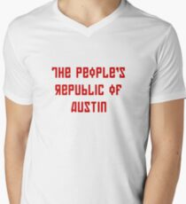 The People's Republic of Austin (red letters) Mens V-Neck T-Shirt