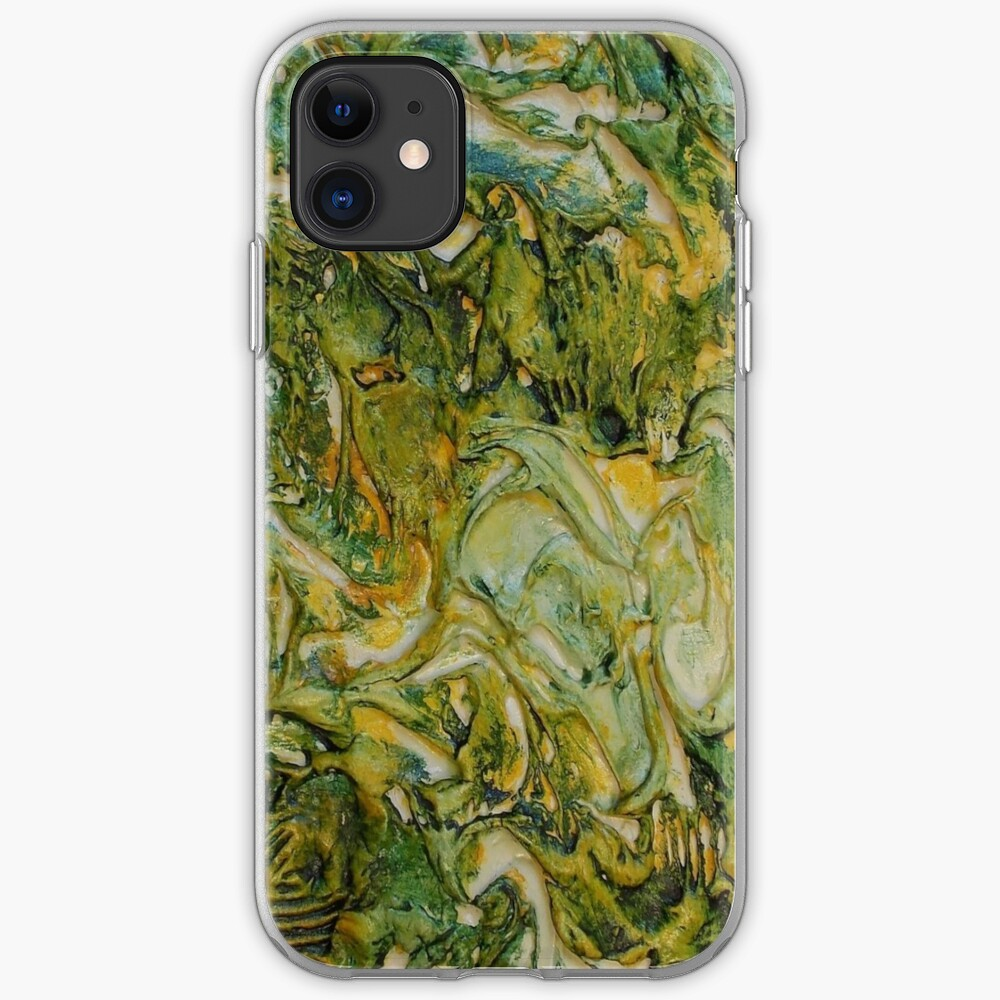 ABSTRACT GREEN AND YELLOW MOODY WAVES  iPhone Case & Cover