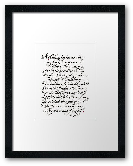 At Last Etta James lyrics handwritten quote by Melissa Goza