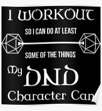 DnD Character Workout - in white Poster