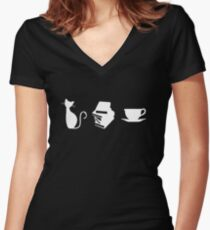 Cats, Books, and Coffee Women's Fitted V-Neck T-Shirt