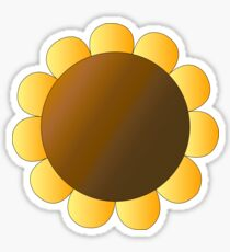 Sunflower Graphic Design, Brown and Yellow Nature Sticker