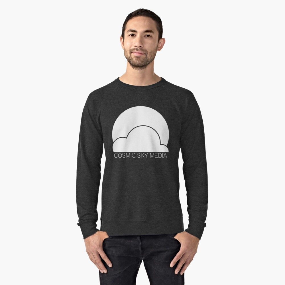 Cosmic Sky Media Logo (White) Lightweight Sweatshirt Front