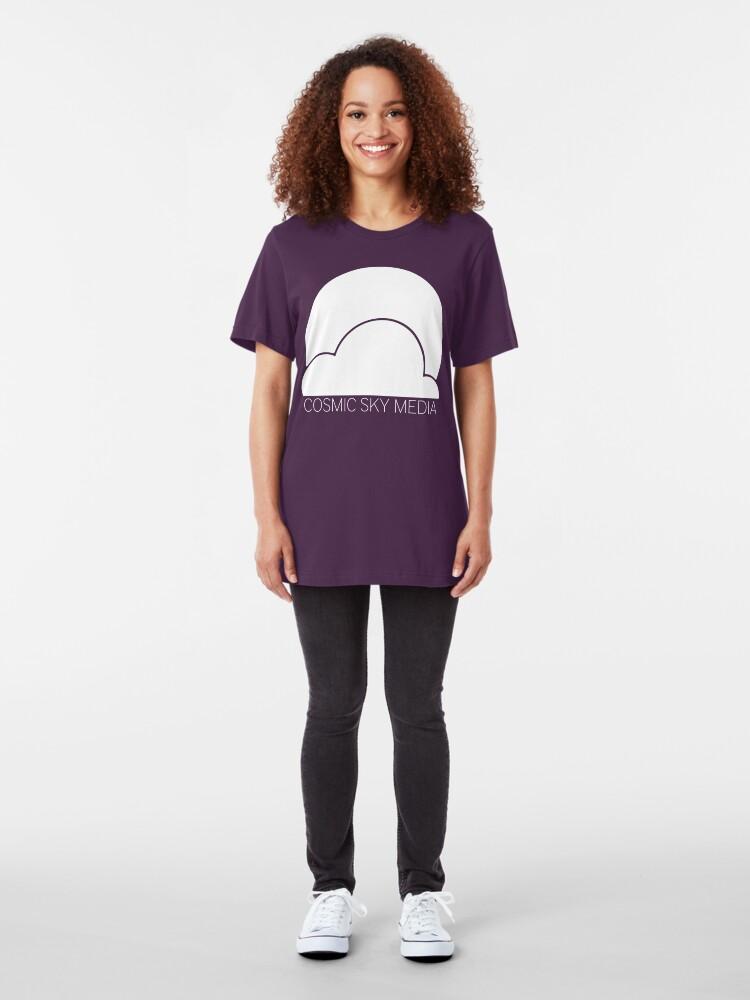 Alternate view of Cosmic Sky Media Logo (White) Slim Fit T-Shirt