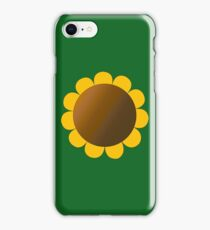 Sunflower Graphic Design, Solid Yellow and Brown iPhone Case/Skin