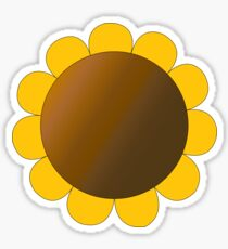 Sunflower Graphic Design, Solid Yellow and Brown Sticker