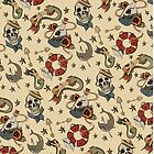 Navy Sailor Tattoo Repeating Pattern by Amanda Irene