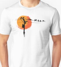Birds on Wires with Sunset T-Shirt