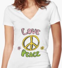 Hand drawn hippie background Women's Fitted V-Neck T-Shirt