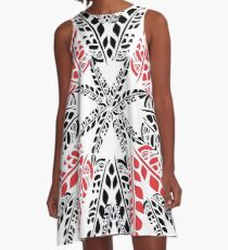 Black & Red Feathers on White A-Line Dress
