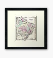 Vintage Map of Brazil (1855) Framed Print